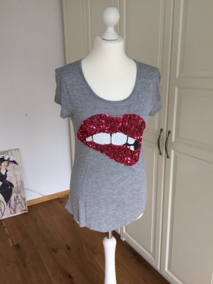 H&M Tshirt grau kuss Mund Pailletten S