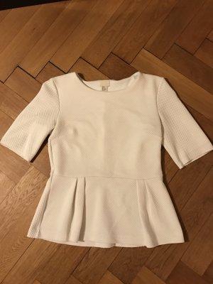 H&M Tshirt mit Schößchen Gr M weiß