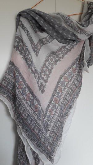 H&M Tuch Schal grau rosa weiß