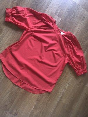 H&M Tunika Bluse rot Gr.42 Damen Oberteil 3/4 Arm L Reißverschluss