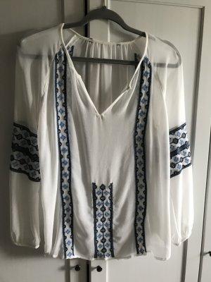 H&M Tunika Bluse weiß mit blauer Stickerei