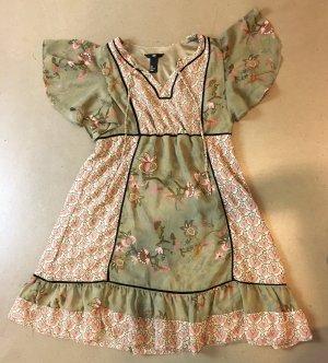 *  H & M *  TUNIKA / Mini Kleid rosa khaki Blumen Hippie Rüschen  Gr S 38