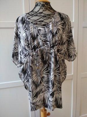 H&M Tunika schwarz weiß Strandshirt Blätter