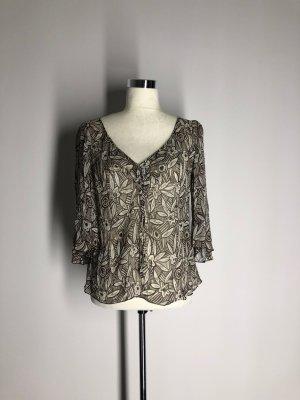 H&M Tunikabluse, braun-weiß florales Muster