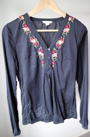 H&M Tunikabluse mit Blumenstickerei in Größe 36