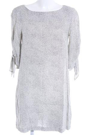 H&M Tunikakleid wollweiß-schwarz Punktemuster Casual-Look