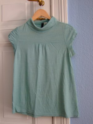 H&M Turtleneck Shirt A-Linie Wolltop Babydoll türkis mint grün Trend Gr.36