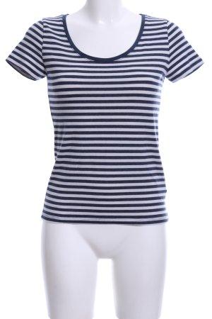 H&M Maglia scollo a barca blu-bianco motivo a righe stile casual