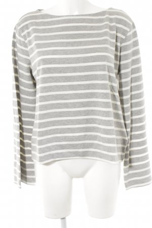 H&M Boatneck Shirt light grey-white striped pattern casual look