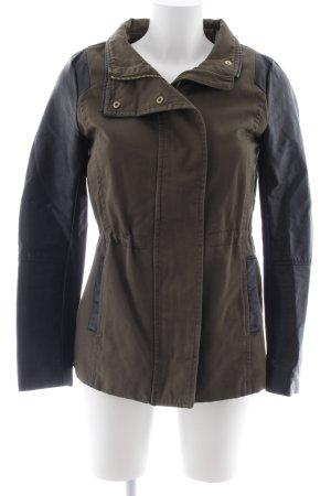 H&M Übergangsjacke khaki-schwarz Biker-Look