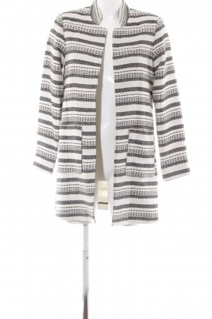 H&M Overgangsjas zwart-wolwit gestreept patroon casual uitstraling