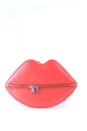 H&M Umhängetasche rot-silberfarben Romantik-Look