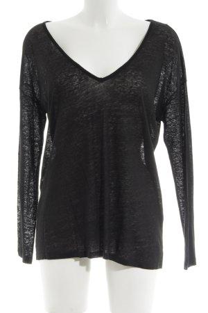 H&M V-Ausschnitt-Pullover schwarz meliert Casual-Look