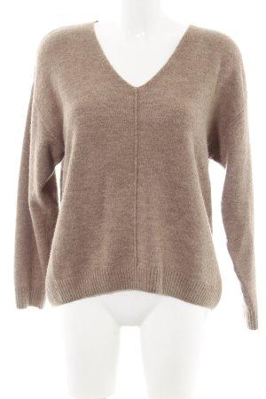 H&M Pull col en V brun moucheté style simple
