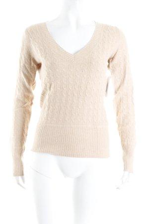 H&M V-Ausschnitt-Pullover camel Zopfmuster Business-Look