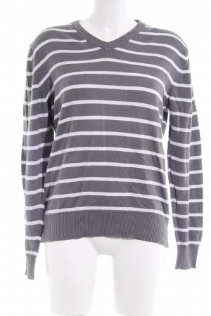 H&M V-Neck Sweater grey-white striped pattern casual look