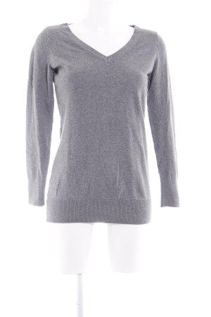 H&M V-Ausschnitt-Pullover graublau meliert Casual-Look