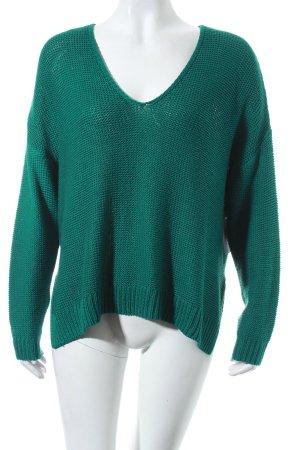 H&M V-Ausschnitt-Pullover grün schlichter Stil
