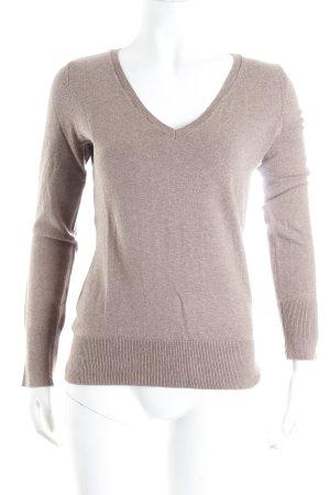 H&M V-Ausschnitt-Pullover hellbraun meliert Business-Look