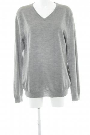 H&M V-Neck Sweater light grey-grey flecked casual look