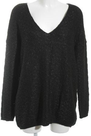 H&M V-Ausschnitt-Pullover schwarz Glanz-Optik