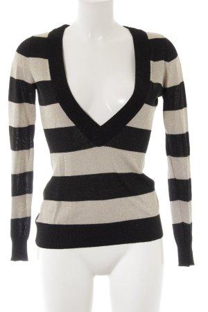H&M V-Ausschnitt-Pullover schwarz-goldfarben Streifenmuster Casual-Look