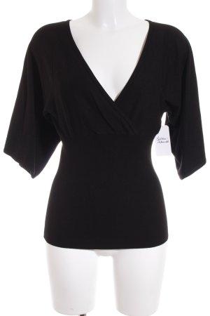 H&M V-Ausschnitt-Pullover schwarz schlichter Stil