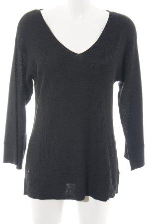 H&M V-Ausschnitt-Pullover schwarz Webmuster Casual-Look