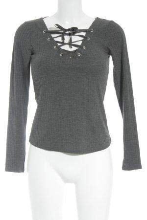 H&M V-Ausschnitt-Shirt dunkelgrau meliert Casual-Look