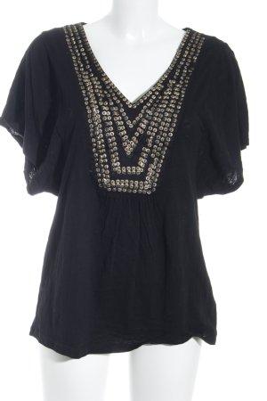 H&M V-Ausschnitt-Shirt schwarz Antik-Look