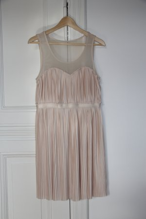 H&M verspieltes Kleid mit transparentem Trägerteil, plissiert in zartem Altrosé