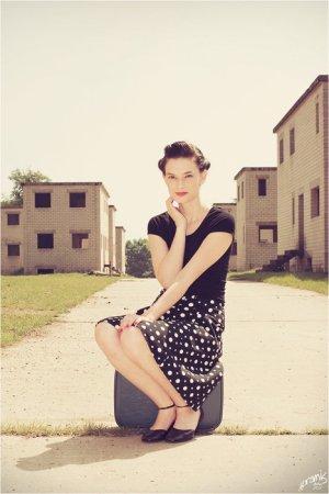 H&M Vintage Rock schwarz weiß Punkte XS 34