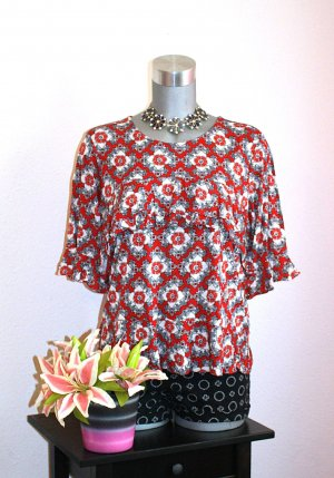 H&M Volant Blusen Shirt gr. 42 Retro Design