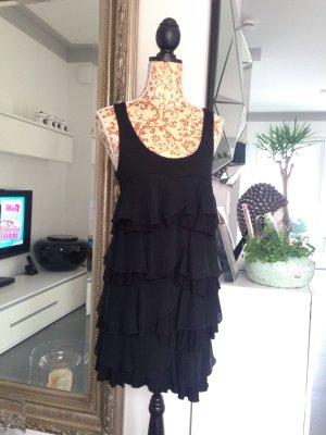 H&M Robe à volants noir coton