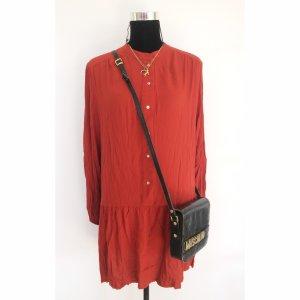 H&M Volantkleid 42 44 Rost rot langes Blusen Shirt Kleid langatmig Sommer Blogger Style