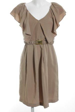 H&M Volante jurk lichtbruin zakelijke stijl