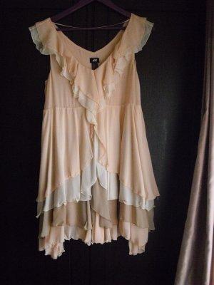 H&M Volantkleid hellrosa/beige