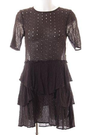 H&M Volantkleid schwarz Punktemuster Casual-Look