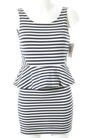 H&M Volantkleid weiß-dunkelblau Streifenmuster Marine-Look