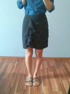 H&M Volantrock Minirock Modal High Waist schwarz Rüschen