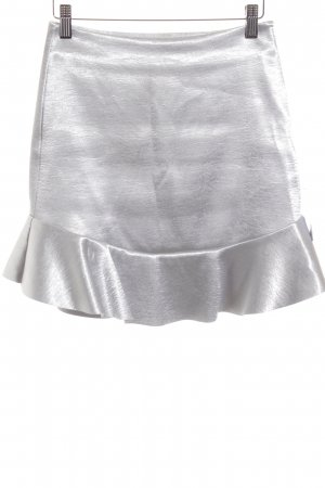 H&M Flounce Skirt silver-colored wet-look