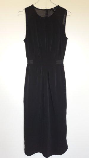 H&M wadenlanges Midi-Kleid mattglänzender Satin schwarz Sommer Gr. 34
