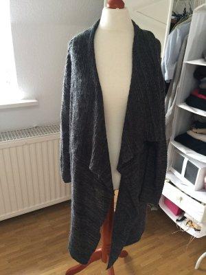 H&M Wasserfall Long Cardigan Strick Jacke Mantel meliert Blogger XS S 34 36