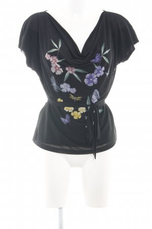 H&M Wasserfalltop schwarz Blumenmuster Casual-Look
