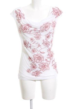 H&M Top tipo cascada blanco-rosa estampado floral look casual