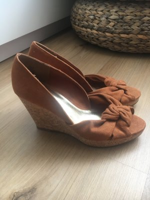 H&M High-Heeled Sandals cognac-coloured-brown