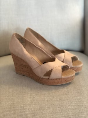 H&M Wedges Keilabsatz Rosa Wildleder Optik Kork 39