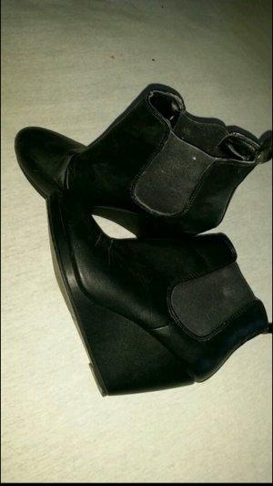 H&M wedges Keilabsatz stiefeletten in schwarz 38