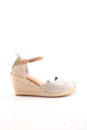 H&M Wedges Sandaletten creme-goldfarben Casual-Look