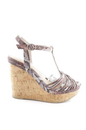 H&M Wedges Sandaletten creme-braun Animalmuster Elegant